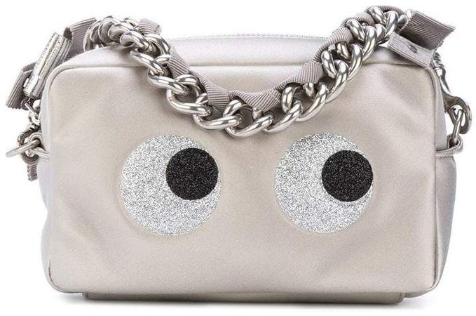 eyes motif zipped clutch