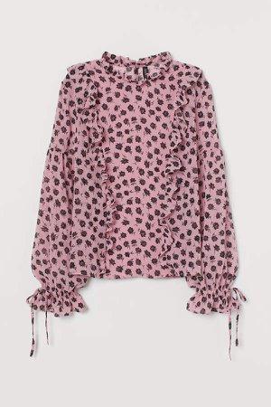Chiffon Blouse with Ruffles - Pink