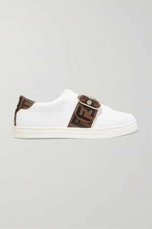 White Logo-embossed leather sneakers