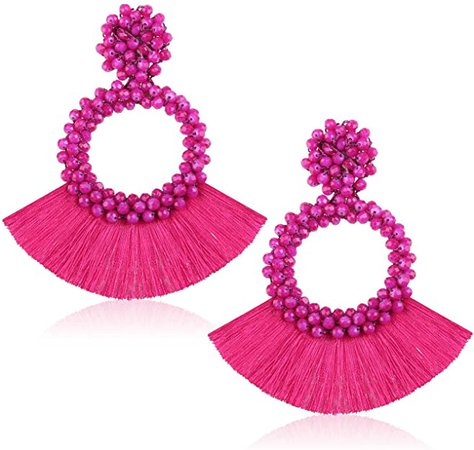 Amazon.com: Statement Drop Earrings for Women Girls Handmade Bohemian Beaded Hoop Round Tassel Thread Fringe Dangle Fashion Ear Stud Jewellery Accessory Gift for Daughter with Gushion Present Box GUE130 Black: Jewelry