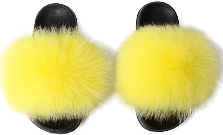 Yu Li Women Real Fox Fur Feather Vegan Leather Open Toe Single Strap Slip On Sandal | Slides