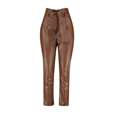 Faux Leather High-Waist Trousers – Modern Coterie