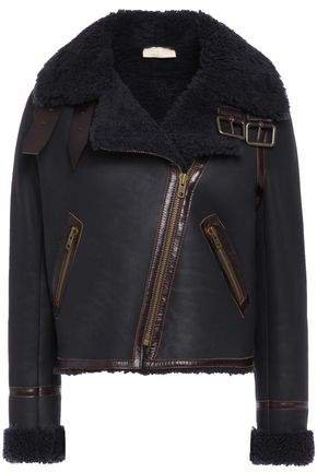 Turso Leather-trimmed Shearling Biker Jacket