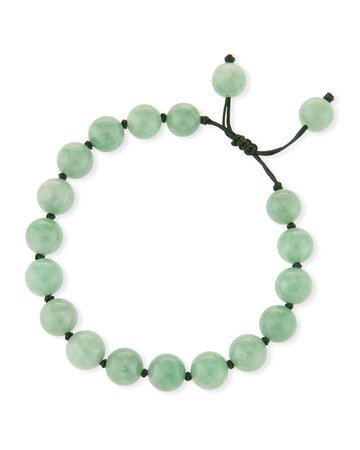 David C.A. Lin 10mm Beaded Jade Cord Bracelet