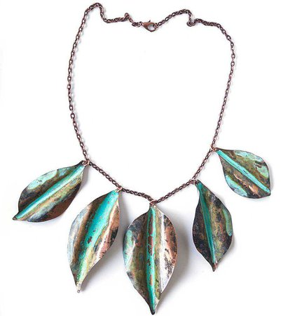 teal and rust necklace leaf patina - Google Search