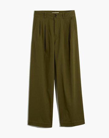 Pleated Wide-Leg Pants green