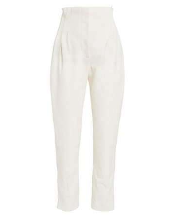 High-Waisted Pleated Leather Pants