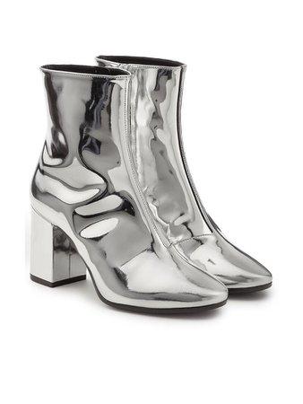 Silver metallic ankle high heel boots