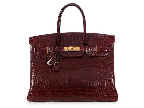 red burgundy hermes bag birkin crocodile