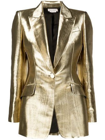 Alexander McQueen metallic-effect Tailored Blazer - Farfetch