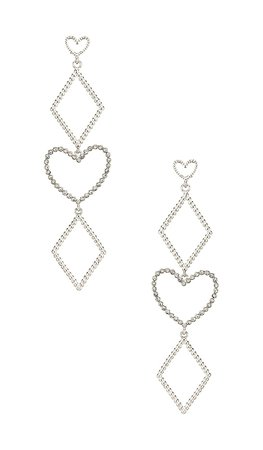 Luv AJ The Dotted Heart Statement Earrings in Silver | REVOLVE