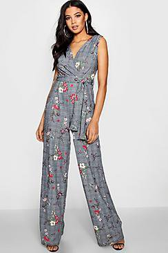 Tall Abril Checked Wrap Front Jumpsuit
