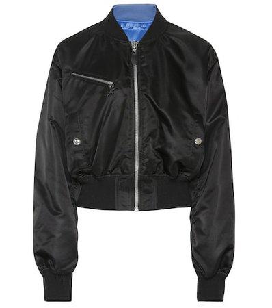 Reversible satin bomber jacket