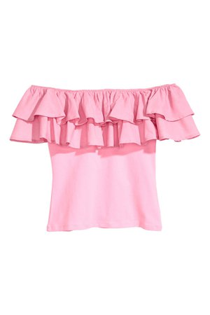 Off The Shoulder Pink Ruffle Dress Top