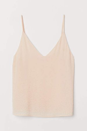 Bead-embroidered Camisole Top - Beige