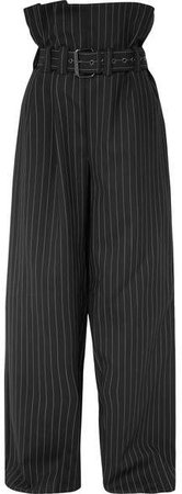 Belted Pinstriped Wool-blend Wide-leg Pants - Black