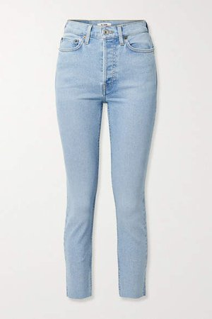 90s Cropped Frayed High-rise Skinny Jeans - Light denim