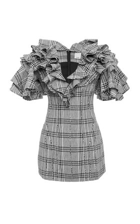 Culle Ruffled Plaid Cotton And Linen-Blend Dress