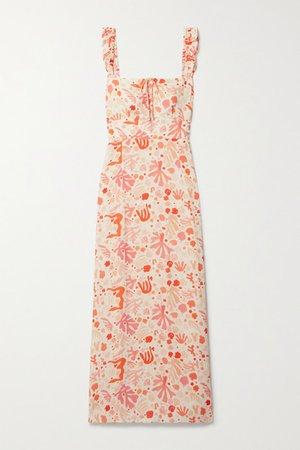Cecile Ruffled Printed Crepe Midi Dress - Orange
