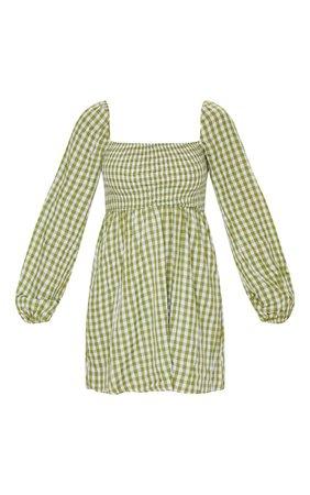 Green Gingham Shirred Smock Dress | Dresses | PrettyLittleThing