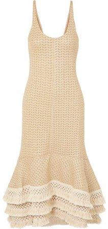 Tasseled Crochet-knit Cotton-blend Maxi Dress - Neutral