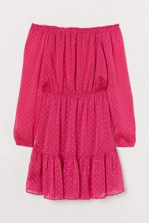 Off-the-shoulder Dress - Pink