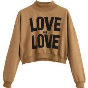 High Neck Letter Graphic Swearshirt Camel