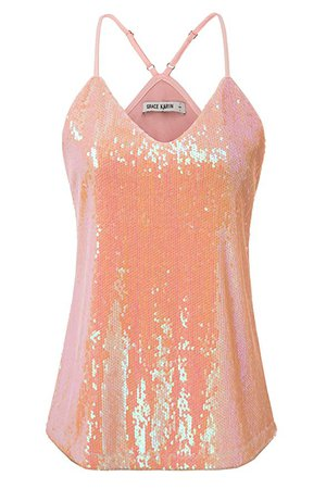 GRACE KARIN Women's Sleeveless Sparkle Shimmer Camisole Vest Sequin Tank Tops at Amazon Women's Clothing store