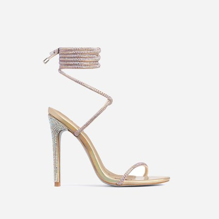 Carmella Glitter Sole Diamante Detail Lace Up Heel In Gold Faux Leather | EGO