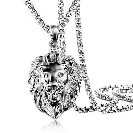"""Jewelry Kingdom 1 Mens Necklace Lion Pendant Necklace for Women and Men, Silver Plated Stainless Steel, Shiny Shiny CZ Diamond, Comes with Rope Chain 24""""and Gift Box(Silver) 