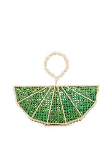 Mercedes Salazar Raffia Lime Wedge Clutch Bag   Neiman Marcus