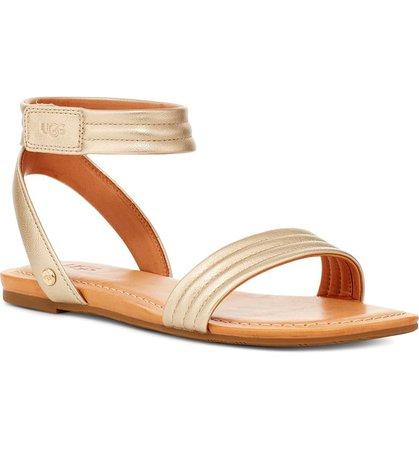 UGG® Ethena Metallic Ankle Strap Sandal (Women) | Nordstrom