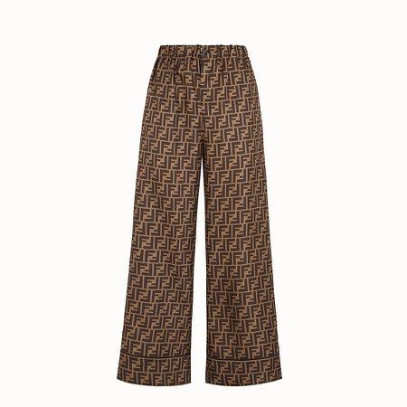 Trousers in brown twill - TROUSERS | Fendi