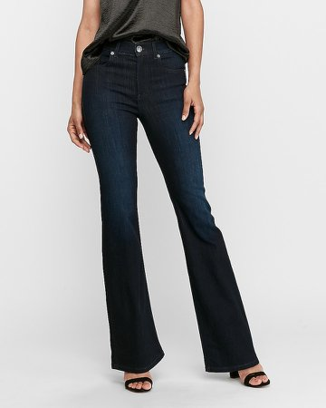 High Waisted Dark Wash Slim Flare Jeans