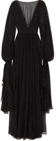 Ruffled Tiered Silk-chiffon Gown - Black