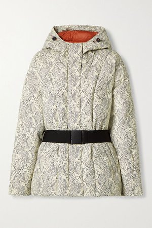 Ivory Dowlen hooded printed quilted down ski jacket | Varley | NET-A-PORTER