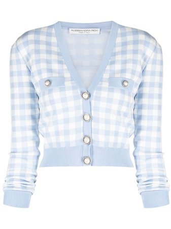 Shop blue & white Alessandra Rich gingham-print button-up cardigan with Express Delivery - Farfetch
