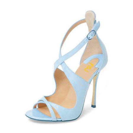 Light Blue Stiletto Heels Cross-over Strap Open Toe Sandals for Work, Formal event, Date, Anniversary | FSJ