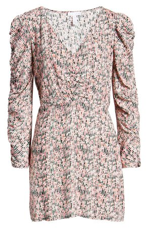 Leith Floral Shirred Long Sleeve Dress | Nordstrom
