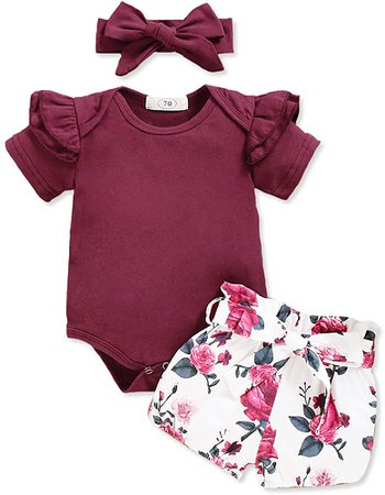 Amazon.com: Infant Baby Girl Clothes Short Sleeve Outfits Romper Bodysuit Floral Pants Baby Girl Summer Outfits Sets 0-3 Months: Clothing