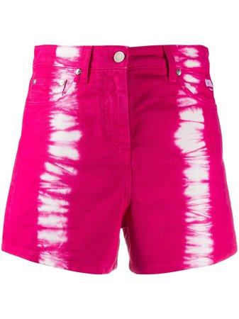 Shop pink MSGM tie-dye print denim shorts with Express Delivery - Farfetch