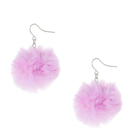 """1.5"""" Pom Pom Drop Earrings - Purple   Claire's US"""