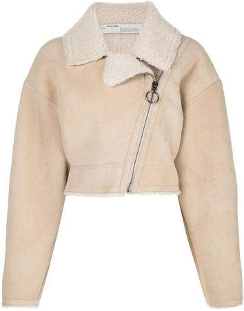 Off White cropped shearling jacket