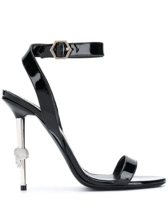 Shop black Philipp Plein patent stiletto sandal with Express Delivery - Farfetch