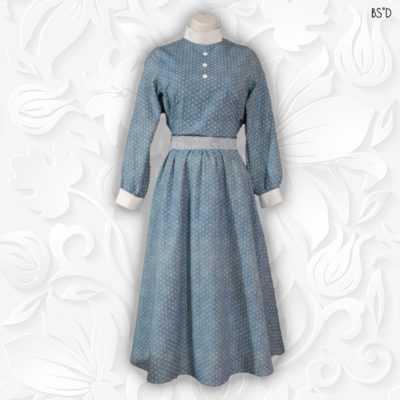 Blue Dot Cotton Modest Dress Vintage Style
