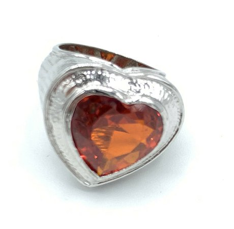 nOir JEWELRY Silver Chunky RED HEART Rock Stone Ring Costume Cocktail 7 Gem | eBay