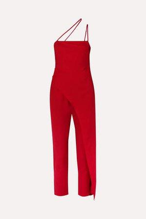 One-shoulder Asymmetric Satin Jumpsuit - Red