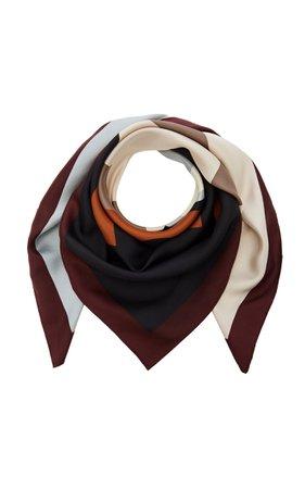 Tory Burch Color-Block Logo Silk Scarf