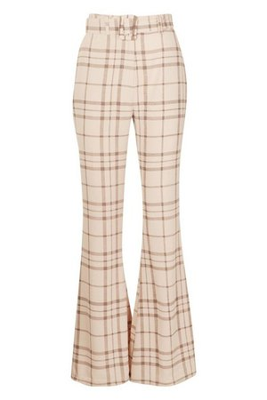 Grid Check Belted Flare Trouser | Boohoo UK