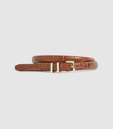 Lauren Tan Leather Skinny Belt – REISS